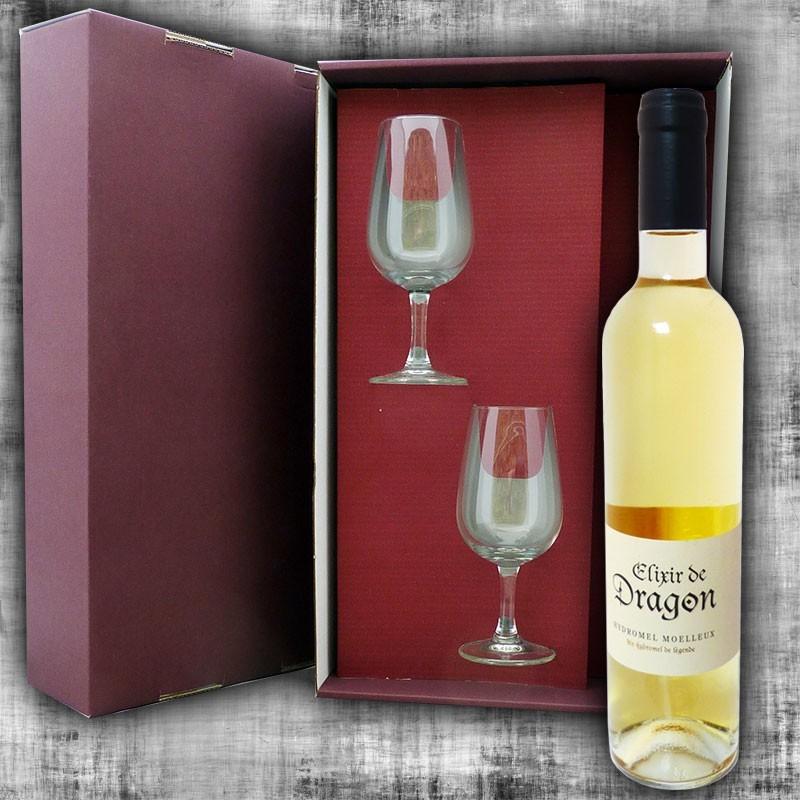 Coffret Hydromel Elixir de Dragon 50cl et 2 verres à vin